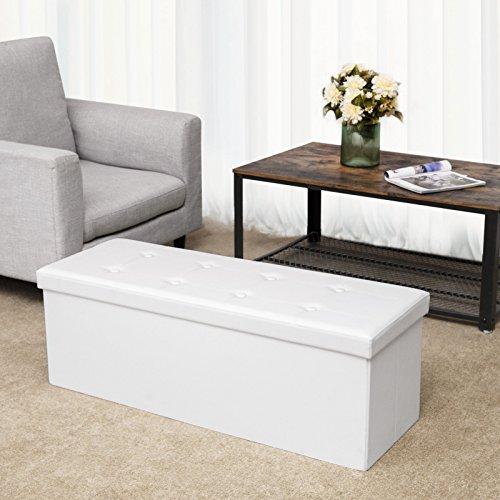 Songmics Sitztruhe 3-Sitzer Kunstleder, weiß, 110x38x38cm - 3