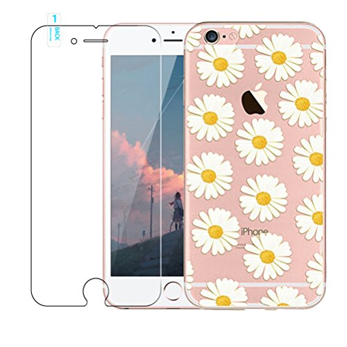 iPhone 7custodia [with free tempered glass Screen Protector], BLOSSOM01ultra sottile in gel morbido TPU silicone cover con cover per iPhone 7, Donuts, iPhone 7 Chrysanthemum