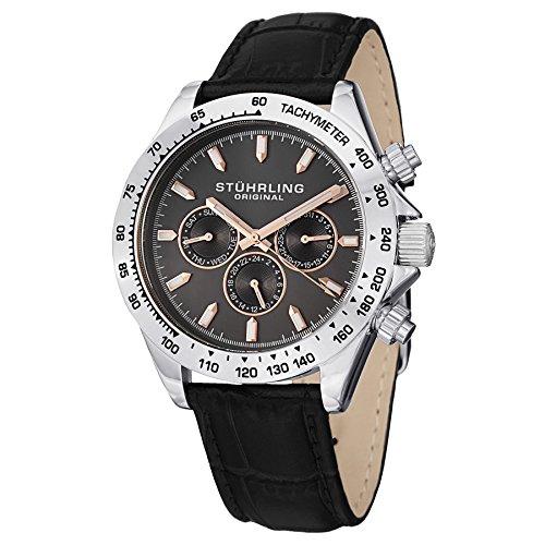 Stührling Original 564L.01 - Reloj analógico para hombre, correa de cuero, color negro