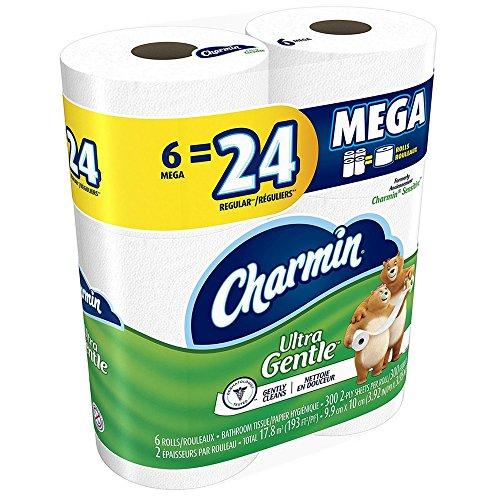 Charmin papel higiénico para piel sensible–grandes rollos de 2capas–contiene de la loción con el Aloe Vera y a la Vitamina E–sin perfume–Talla Méga–6rollos/paquete (3paquetes)