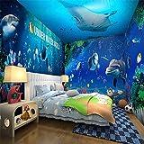 ZCHENG papel pintado sala de mundo submarino de los niños de dibujos animados de los niños y niñas dormitorio papel tapiz de fondo decorativo de la pared que cubre los cursos de formación de educación temprana, 400x280 cm (157,5 por 110,2 in)