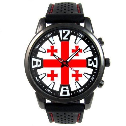 �nder Flaggen Herrenuhr mit Silikonarmband in schwarz Rund Analog Quarz SF085CC (Georgien Flagge Land)