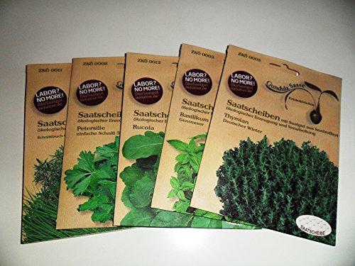 7 Küchenkräuter Bio, Saatscheiben Petersilie, Schnittlauch, Dill, Basilikum, Rauke, Bohnenkraut, Thymian
