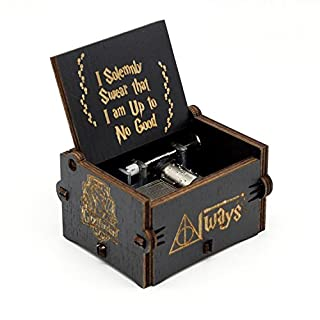Hedwig's Theme Harry Potter Music Box,Antique Carved Wooden Hand Crank Musical Boxes For Kids Birthday