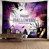 OverDose Damen Halloween Mond Kürbis Tapisserie Zimmer Bar Party Überraschung Tagesdecke Wand Kunst Hänge Home Decor Grand