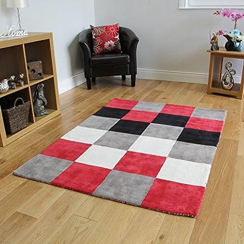 Dicke Weiche Baumwolle Schwarz Rot Grau Weiß Quadratmuster Teppich 3 Größen Erhältlich Oslo