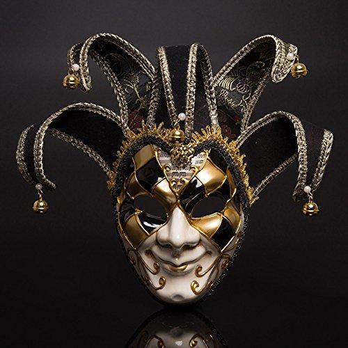 Fronte sorridente della maschera del teatro di carnevale di Venezia Rosso e blu a due colori