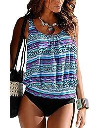 Damen Bade-Mode Blau Bikini Marine Gemustert Tankini Slip Lascana Frei kombinierbar mit Hose