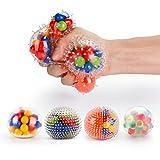 Stressball set [4er-Pack], Fansteck Squishy Mash Ball / Anti-Stress-Bälle für Kinder und Erwachsene, Ideal für Patienten mit Autismus, Hyperaktivität, Angst usw. (4 verschiedene Bälle)