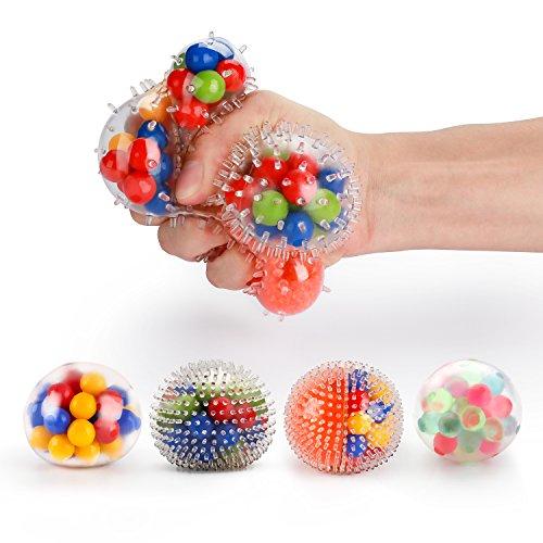 Stressball set [4er-Pack], Fansteck Squishy Mash Ball / Anti-Stress-Bälle für Kinder und Erwachsene (4 verschiedene Bälle)