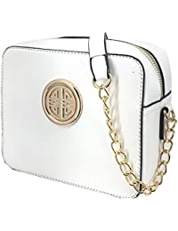S039 Women Fashion Textured Faux Leather Crossbody Messenger Chain Strap Shoulder Bag (White) By Solene
