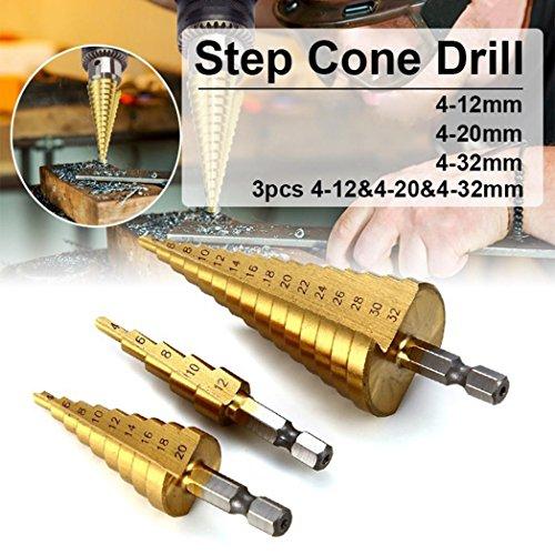 bodhi2000® 3Stück/Set 4-12/20/32mm HSS Stahl Schritt Konus Bohrer Power Tool Hex Schaft Lochschneider