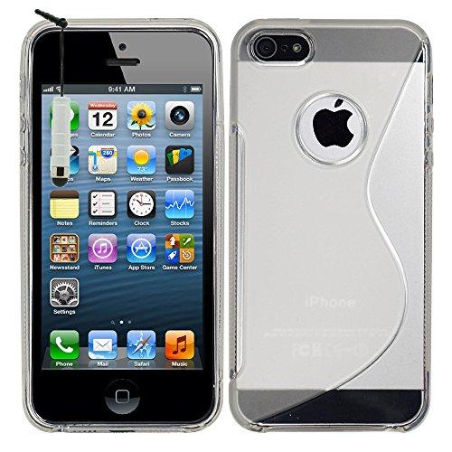 VComp-Shop® S-Line TPU Silikon Handy Schutzhülle für Apple iPhone 5/ 5S/ SE + Großer Eingabestift - TRANSPARENT TRANSPARENT + Mini Eingabestift