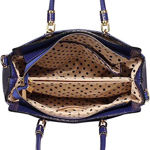 TrendStar Damen-Taschen-Tasche Schultertasche Promi-Art-Frauen Entwerfer Poliertes Hardware Faux Leder Marine