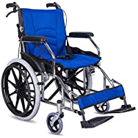 Wheelchair Folding Lightweight With Full-Length Arms And Foot Pedal 3 Height Adjustable,12.5Kg,43Cm Seat,4 Brake Transport Wheelchair,Blue