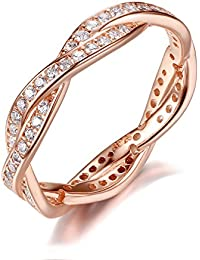 Presentski Cubic Zirconia Plata Esterlina 925 Rosa Oro Anillo de Bodas Plateado para las Mujer Girls