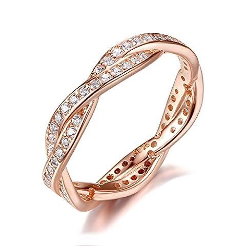 Presentski Or-rose Plaqué Bague Argent Massif 925 avec Zirconium Cristal pour Femme Fille Bride Mariage