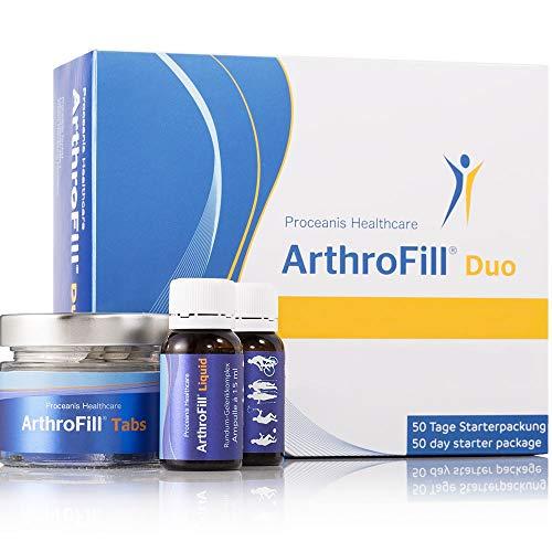 Arthrofill Duo, Trinkampullen u. Tabletten mit Hyaluron, Unterstützung von Knochen + Knorpel. Hochdosiert, Made in DE, Arthrose u. Gelenk-Schmerzen Prävention