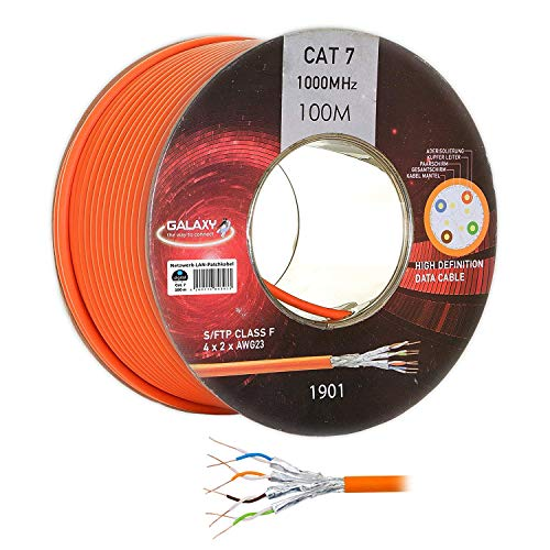 HB-DIGITAL Galaxy Netzwerkkabel LAN Verlegekabel Cabel 100m cat 7 Kupfer Profi S/FTP PIMF LSZH Halogenfrei orange RoHS-Compliant cat. 7 Cat7a AWG 23/1 (Wireless-netzwerk-adapter Cisco)