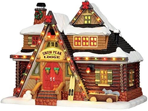 Lemax - Snow Peak Lodge - Bunt beleuchtete Hütte - 22,50cmx17,50cmx14,50cm - 4,5V / Adapter - Christmas Village - Weihnachtsdorf (Porzellan-weihnachtsdorf)