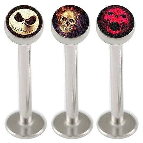 16g 16 gauge 1.2mm 3/8 10mm Steel lip monroe ring labret ear stud bars lot KBQH Body piercing Jewellery 3pcs
