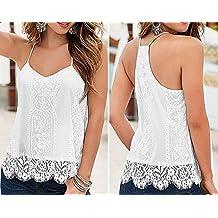 Blusa blanca de encaje de ganchillo, espalda cruzada, tirantes finos, para mujer,