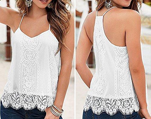 Blusa blanca de encaje de ganchillo, espalda cruzada, tirantes finos, para mujer, de la marca COFCO