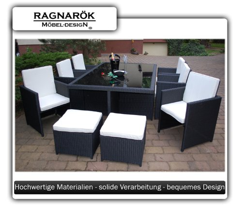 ragnar k m beldesign essgruppe inkl glas und sitzkissen 8 jahre garantie rattan. Black Bedroom Furniture Sets. Home Design Ideas