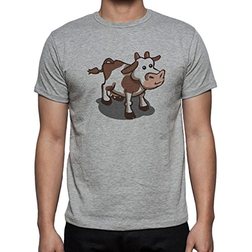 Bull Cow Animals Farm Brown Spots Herren T-Shirt Grau