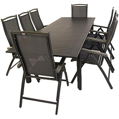 Conjunto de exterior, mesa extensible de aluminio y 8 sillones reclinables - Portes gratis