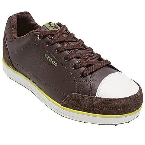 Crocs–Herren Karlson Golf Schuh, Herren, Espresso/Citrus, UK 8 / EU 42