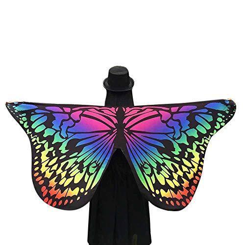 WOZOW Damen Schmetterling Flügel Kostüm Nymphe Pixie Umhang Faschingkostüme Schals Poncho Kostümzubehör Zubehör (Mehrfarbig)