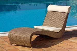 Bain de Soleil ZEFIRO Haute Qualité en Polyrotin transat meubles de jardin en Poly Rotin