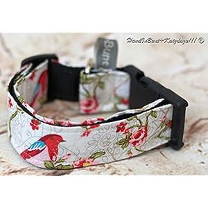 Hundehalsband Romantik weiß mit Stoffbezug und Acetalverschluss
