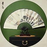 GUYOUYY Faltfächer Faltender Ventilator 10 Zoll/Nachahmung Ebenholz männlicher Ventilator Chinesischer antiker faltender Fächer/Reispapierfan/silk Ventilator Hangzhou/Geschenkventilator/,13inch Nachahmung Wu Muxi Pavilion