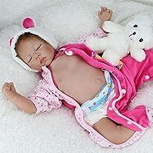 Nicery Renacer Bebé la Muñeca Vinilo Simulación Silicona Suave 22 pulgadas 55cm Boca Magnética Natural Niña Niño Juguete Oso el dormir de color rosa Cerrar los ojos