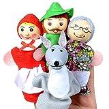 Naisicatar 4PCS / Set Rotkäppchen Weihnachten Fingerpuppen Tier Spielzeug Lernspielzeug...