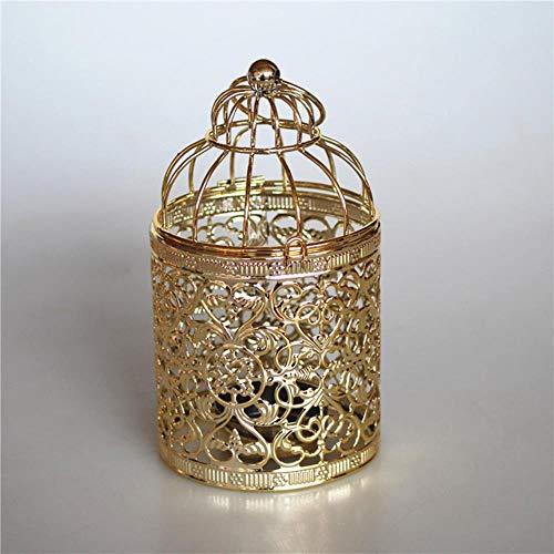 e Hohl Metall Muster Zylinder Kerzenhalter Hochzeit Mittelstücke Dekorative Eisen Kerzenhalter Laterne Decor Crafts, B-Gold ()