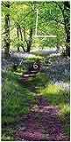 Wallario Design Wanduhr Blaues Hasenglöckchen im Wald aus Acrylglas, Größe 30 x 60 cm, weiße Zeiger