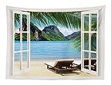 Abakuhaus Strand Wandteppich Palmen und Meer Sommeraus Weiches Mikrofaser Stoff 150 x 110 cm Klare Farben Wand Dekoration Blau-grün-weiß