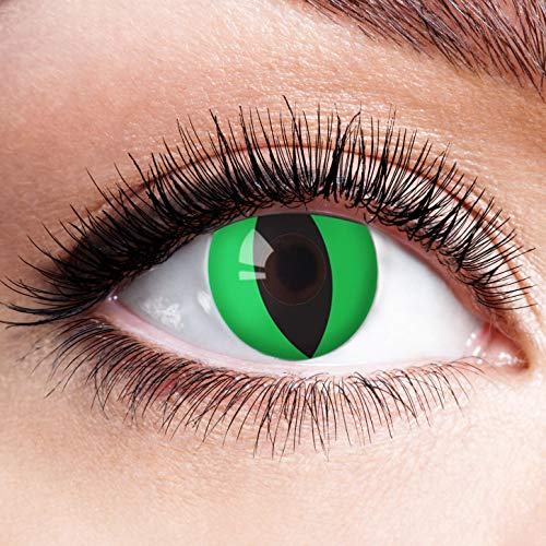Farbige Kontaktlinsen Grün Ohne Stärke Grüne Linsen Halloween Karneval Fasching Cosplay Kostüm Green Cat Eye Schlange Schlitz Cateye Katzenaugen Katze