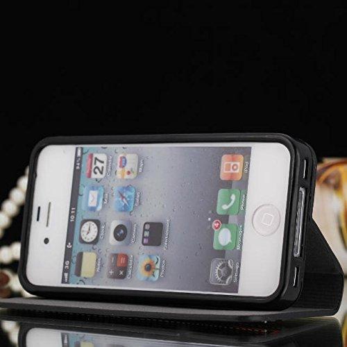 iPhone Case Cover IPhone 4 4S Case, Housse de couleur Mixed Case, Folio Stand Case avec Slot de carte PU Housse en cuir pour iPhone 4 4S ( Color : 1 , Size : IPhone 4 4s ) 3