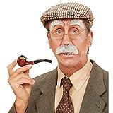 Amakando Alter Mann Bart Schnurrbart mit Augenbrauen grau buschiger Schnauzer Großvater Kunstbart Schnauzbart mit Brauen Opa Verkleidung Zubehör Faschingskostüm Accessoire