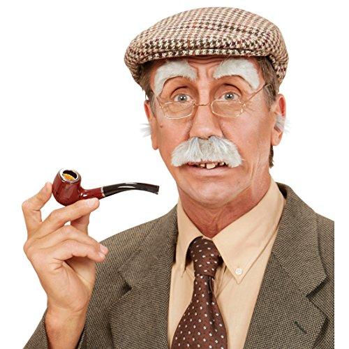 Alter Mann Bart Schnurrbart mit Augenbrauen grau buschiger Schnauzer Großvater Kunstbart Schnauzbart mit Brauen Opa Verkleidung Zubehör Faschingskostüm (Alter Mann Kostüm Bart)