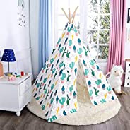 Home Canvas White/Green 4 Wall Cactus Print Play Teepee for Kids Girls and Boys with Carrying Bag