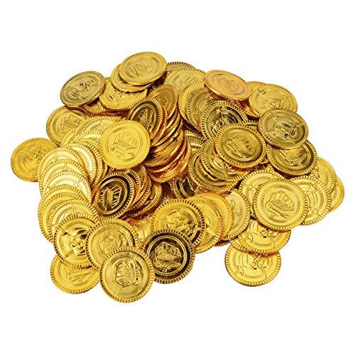 (YoungRich 200 STÜCKE Neuheit Kunststoff Gold münzen Halloween Kunststoff Piraten Münzen Schatz Münzen für Schatz Jagd Spiel Party Dekoration Geschenk 3,5 cm Durchmesser Gold)