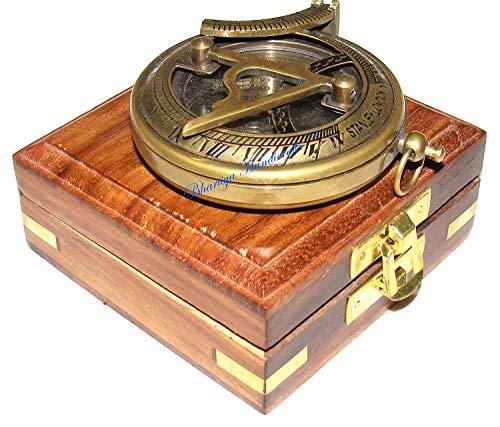 Bussola in ottone con scatola di legno Premium Quality Pocket Compass Epstein London Bhartiya artigianato, Push Button