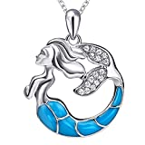Sterling Silver S925 Cuento de Hadas Mágico Esmalte Sirena Colgante Collar