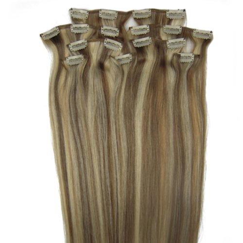 fashionline 38,1 cm Brun/Blond (# 12/613) 100% Remy Hair Lot de 8 extensions capillaires à clipser 100 g poids