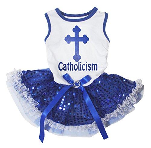 Katholische Kostüm - - Katholische Kirche Pet Supply Kreuz weiß Shirt blau Pailletten Spitze Tutu 1Hund Kleid